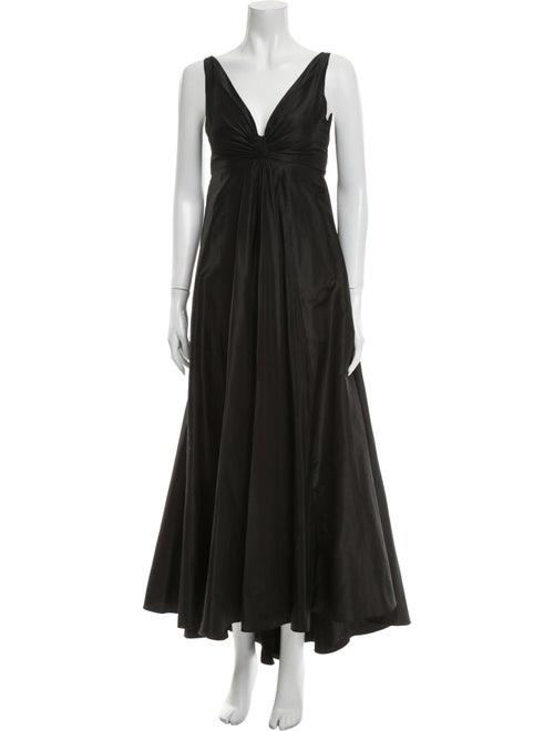 Teri Jon V-Neck Mini Dress Black