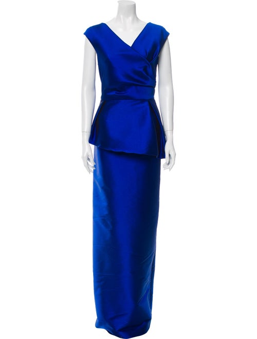Teri Jon V-Neck Long Dress Blue