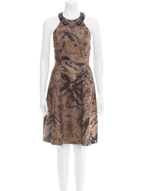 Teri Jon Printed Knee-Length Dress Brown