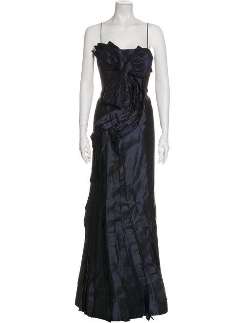 Teri Jon Square Neckline Long Dress Blue