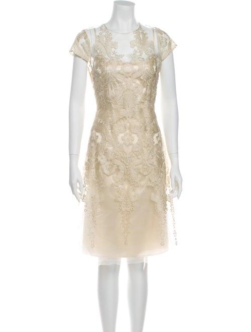Teri Jon Crew Neck Knee-Length Dress