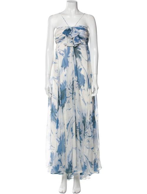 Teri Jon Silk Long Dress Blue