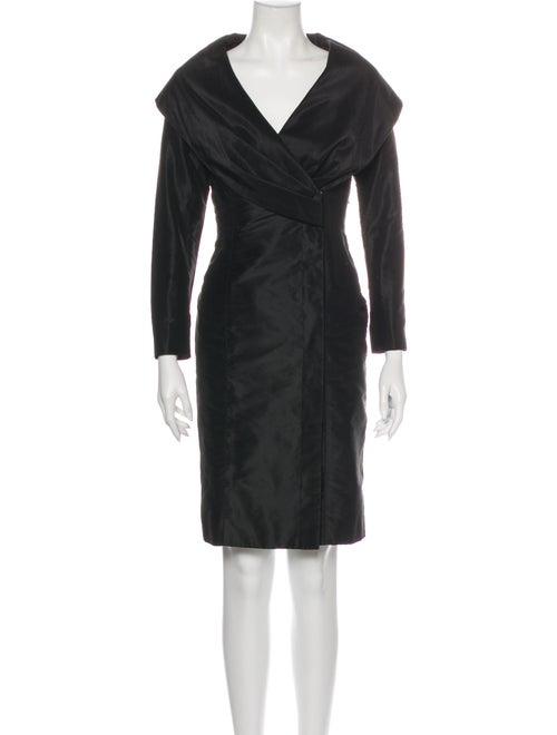 Teri Jon V-Neck Knee-Length Dress Black
