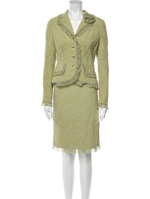 Teri Jon Ruffle Embellishment Skirt Set Green