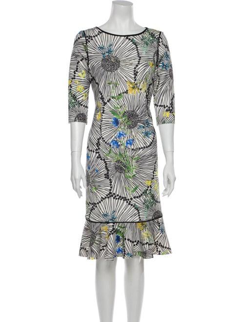 Teri Jon Printed Midi Length Dress White