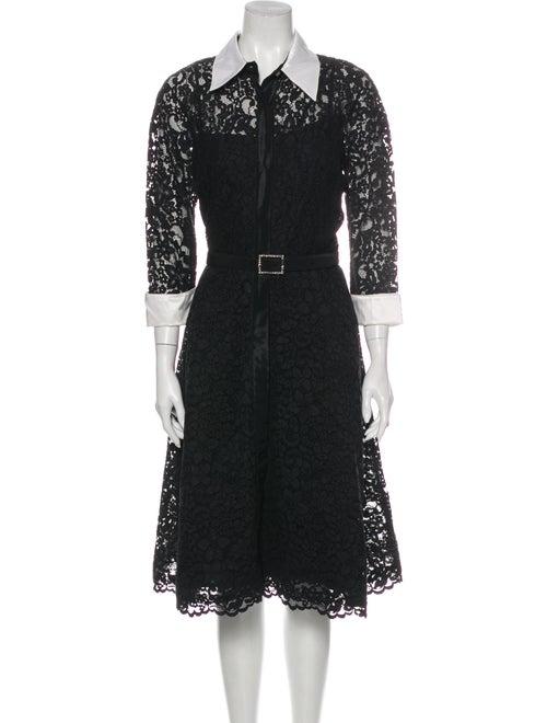Teri Jon Lace Pattern Midi Length Dress Black