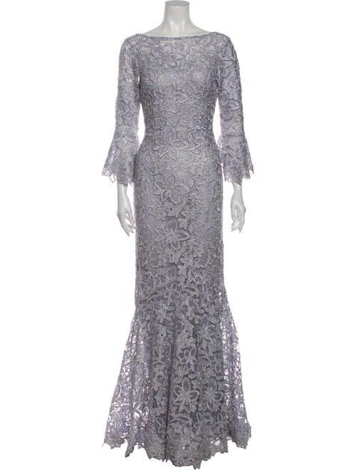 Teri Jon Lace Pattern Long Dress Blue