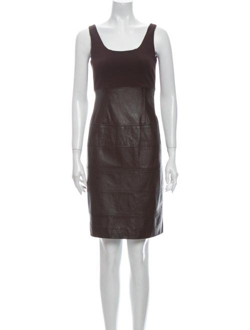 Teri Jon Leather Mini Dress Brown
