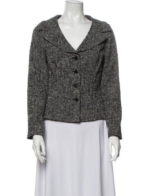 Teri Jon Tweed Pattern Blazer Grey