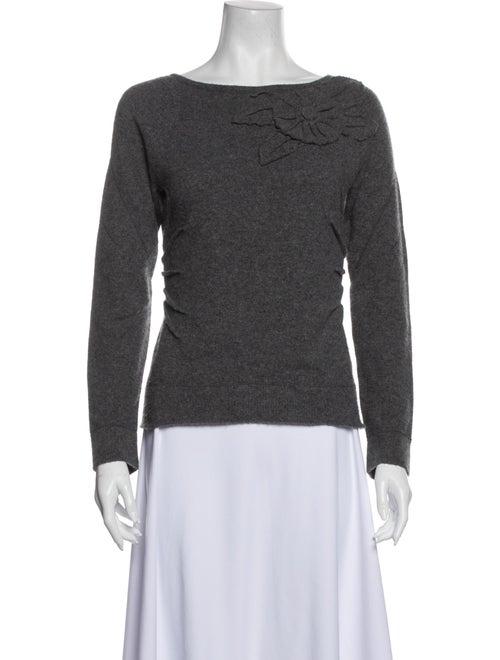 Teri Jon Bateau Neckline Sweater Grey