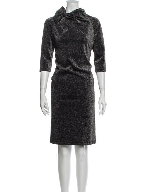 Teri Jon Cowl Neck Knee-Length Dress Silver
