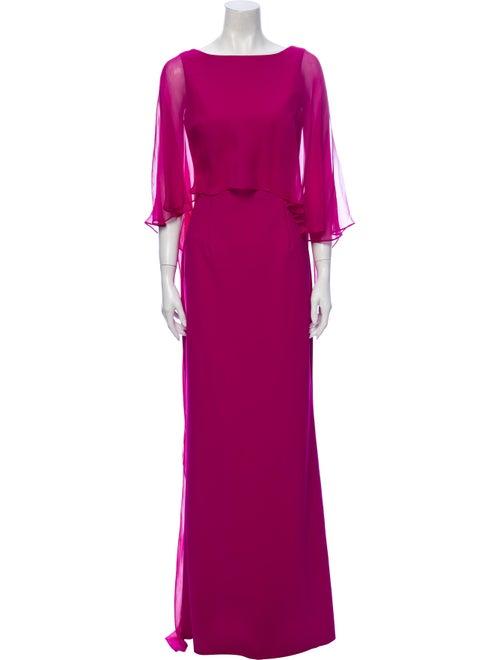Teri Jon Bateau Neckline Long Dress Purple