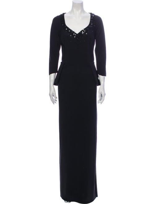 Teri Jon V-Neck Long Dress Black