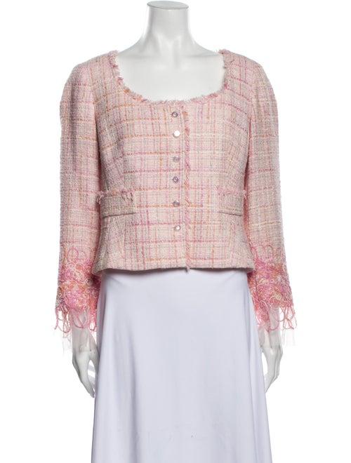 Teri Jon Tweed Pattern Evening Jacket Pink