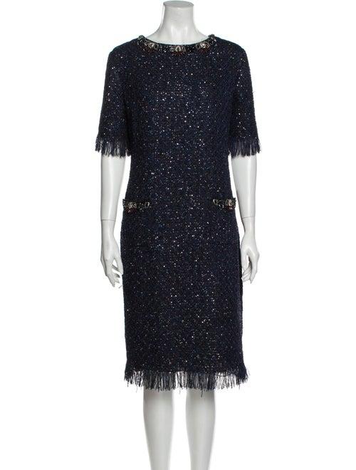 Teri Jon Crew Neck Midi Length Dress Blue
