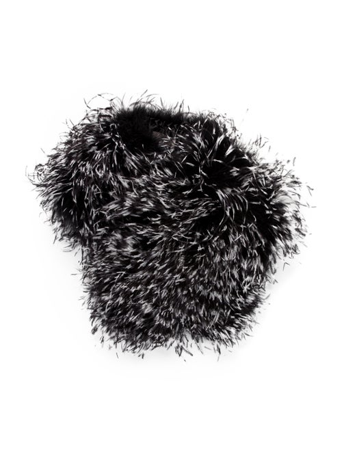 Teri Jon Ostrich Feather Snood w/ Tags Black
