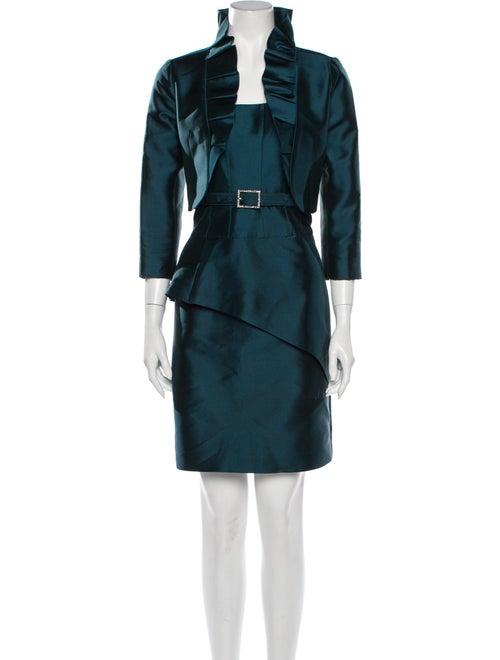 Teri Jon Silk Ruffle Embellishment Dress Set Green