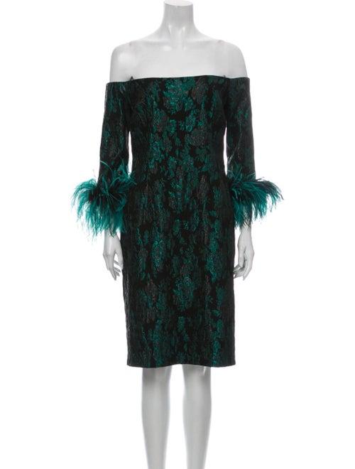 Teri Jon Floral Print Mini Dress Green