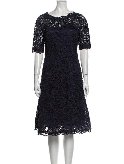 Teri Jon Scoop Neck Midi Length Dress Blue