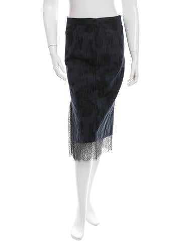 Thakoon Lace-Trimmed Patterned Skirt None