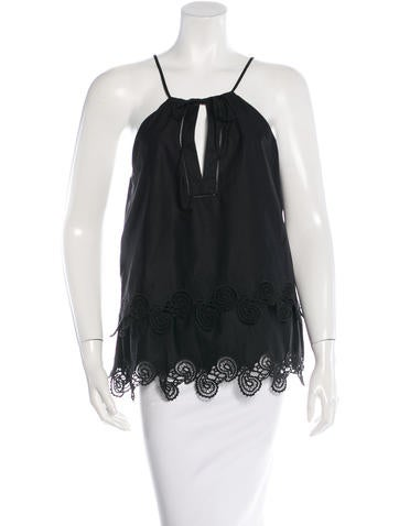 Thakoon Lace-Trimmed Halter Top None