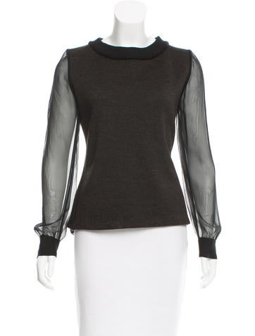 Thakoon Sheer-Accented Wool Top None
