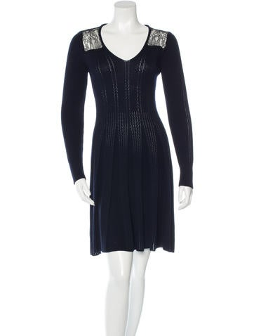 Thakoon Lace-Accented Wool Dress None
