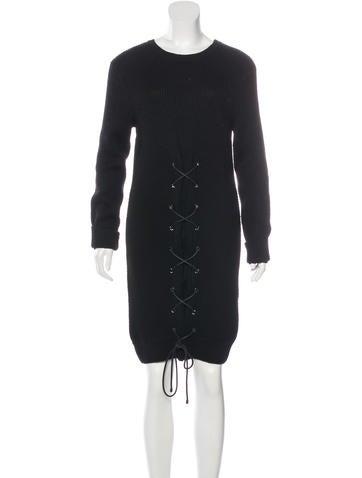 Thakoon Lace-Up Wool Dress None