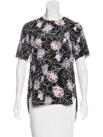 Thakoon Lace-Accented Printed Top None