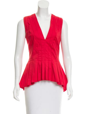 Thakoon High-Low Pleated Top None