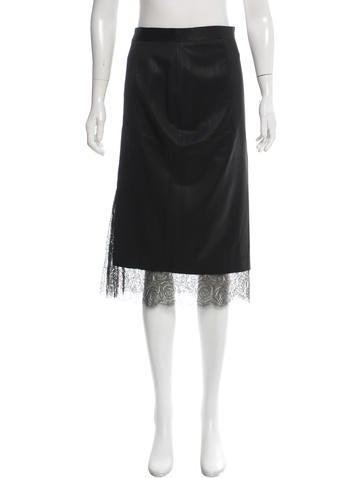 Thakoon Lace-Accented Wool Skirt None