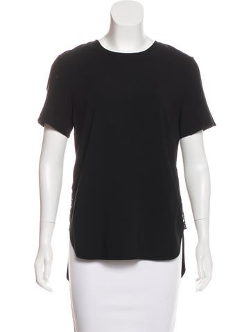 Thakoon Short Sleeve Lace-Accented Top None