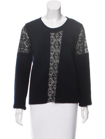 Thakoon Lace-Panel Wool Sweater None