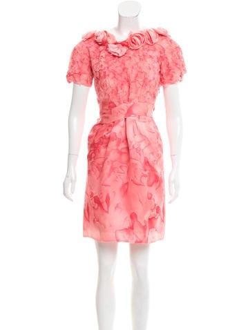 Thakoon Silk Floral-Appliqué Dress None