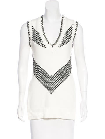 Thakoon Sleeveless Open Knit-Accented Sweater None