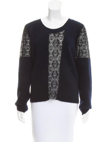 Thakoon Wool Lace-Accented Sweater None