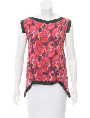 Thakoon Printed Leather-Accented Top None