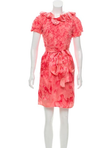 Thakoon Silk Floral-Appliqué Dress None