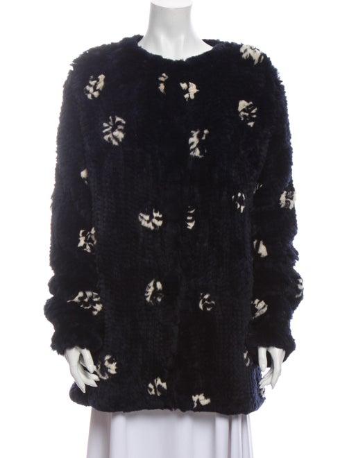 Thakoon Knit Rabbit Patterned Fur Jacket Blue