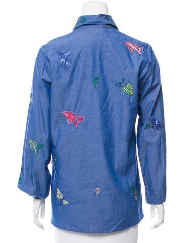 Embroidered Button-Up Top w/ Tags