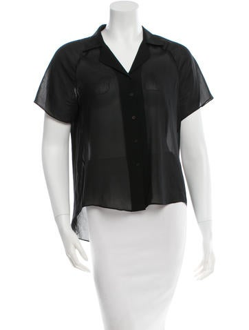 Short Sleeve Button-Up Top