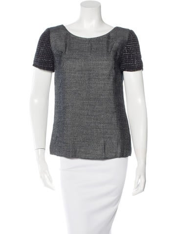 Theyskens' Theory Tweed-Trimmed Short Sleeve Top None