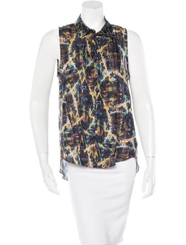 Theyskens' Theory Silk Abstract Print Top None