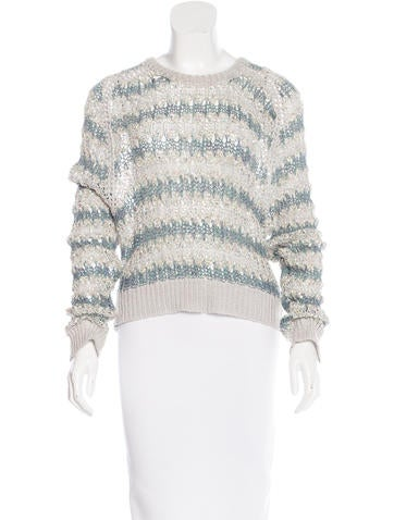 Theyskens' Theory Striped Open Knit Sweater None