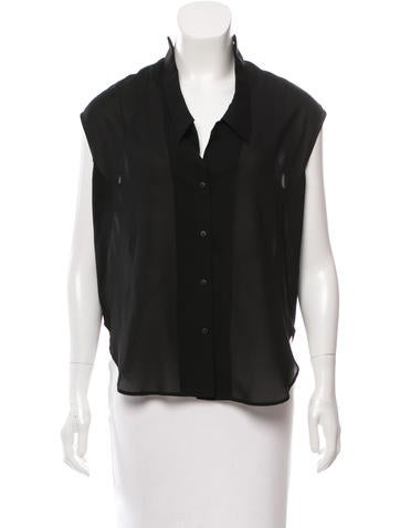 Theyskens' Theory Sleeveless Button-Up Top None