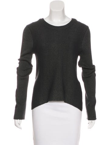 Theyskens' Theory Rib Knit Crew Neck Sweater None