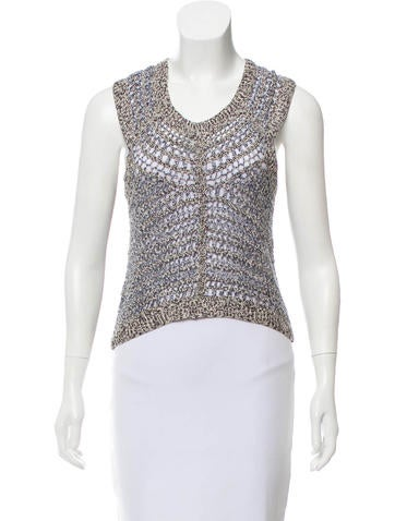Theyskens' Theory Open Knit Silk Top None
