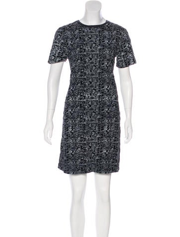 Short Sleeve Devoré Dress None