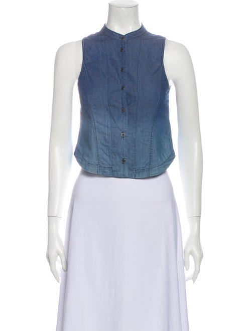 Theyskens' Theory Sleeveless Chambray Top Blue