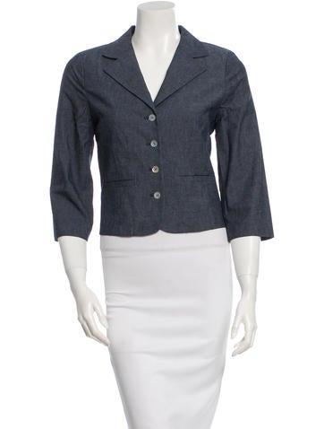 Tibi Denim Long Sleeve Blazer